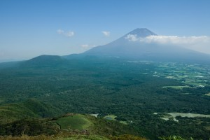 Mt. Fuji and Aokigahara Forest from above